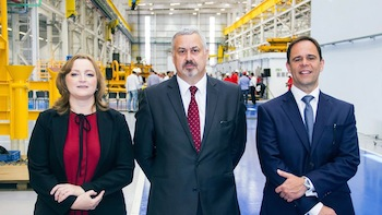 Maria Peralta, Alan Brunnen and Luis Araujo at the opening of the new subsea plant in Curitiba.. PHOTO COURTESY OF AKER SOLUTIONS.