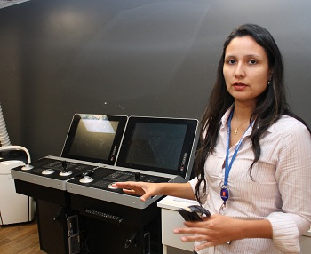 """""""Simulators are a very important tool for the maritime industry, allowing students to practice real life scenarios in a safe environment"""", says Cinthya Lopes, Area Sales Manager for Simulation & Training in Brazil. All photos: Runa Hestmann"""